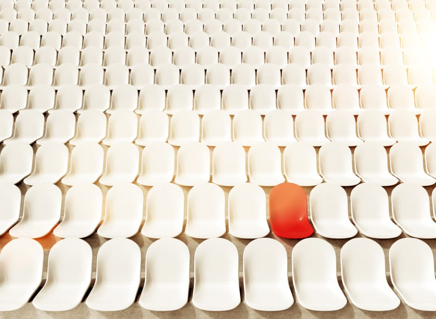 Red chair represents your ideal customer in a sea of clients.Picture